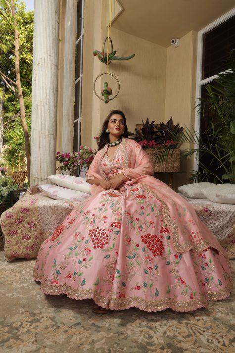 Peach Kaccha Patti Lehenga Set with Scallop Cut Heavy Work Border Dupatta
